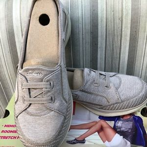 Skechers Microburst Bungee Shoes -Taupe 7M NEW